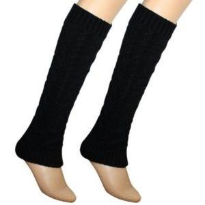 Black Chunky Knit Leg Warmers O/S